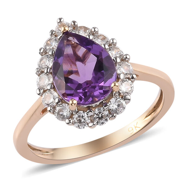 (Size K) 9K Yellow Gold AA Amethyst and Natural Cambodian Zircon Ring 2.10 Ct.