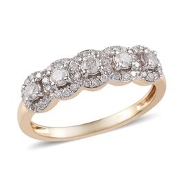 9K Yellow Gold SGL CERTIFIED Diamond (Rnd) (G-H/ I3) Ring  0.50 Ct.