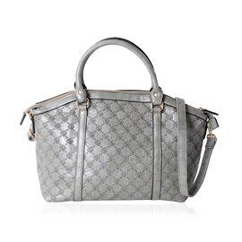 Designer Inspired-Grey Colour Rose Embossed Pattern Tote Bag with Removable Shoulder Strap (Size 41x