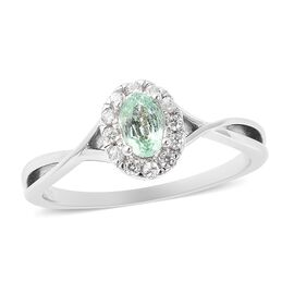 Boyaca Colombian Emerald (Ovl 6x4 mm), Natural White Cambodian Zircon Ring in Rhodium Overlay Sterli
