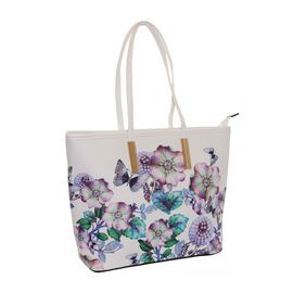 New Season - Floral Printed White Colour Handbag (27 x 29 x 11 Cms)