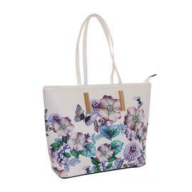 New Season - Floral Printed White Colour Handbag (27 x 29 x 11 Cms)