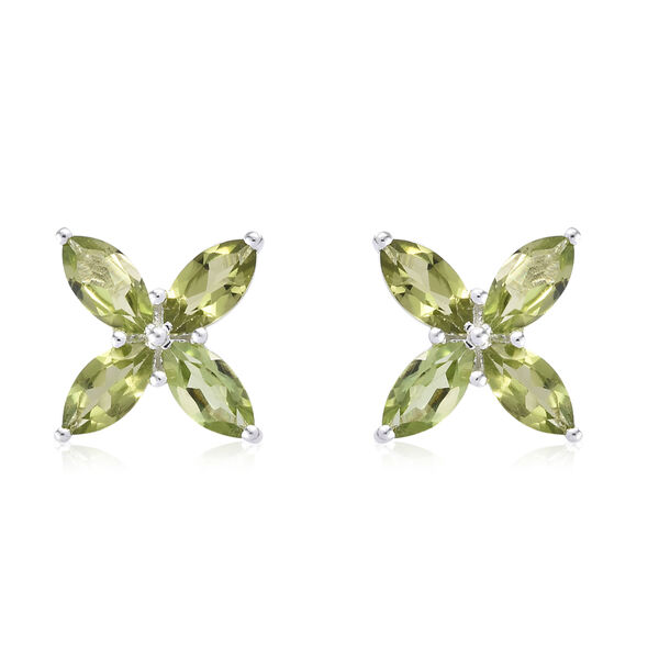 5 Carat Hebei Peridot Leaf Design Stud Earrings in Sterling Silver