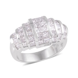 Signature Collection 2.19 Ct Diamond Princess Cut Dome Ring in 18K White Gold SGL Certified SI GH