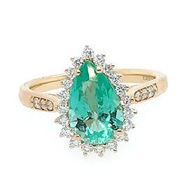 ILIANA 18K Yellow Gold AAA Boyaca Colombian Emerald (Pear 10.52x7.01mm), Diamond (SI/G-H) Ring 2.35