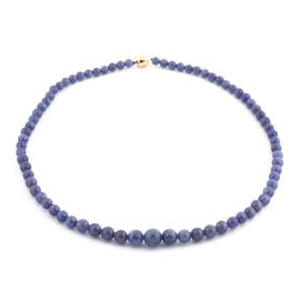 9K Yellow Gold Tanzanite Beaded Necklace (Size 20) 237.00 Ct.
