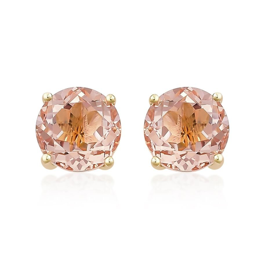surround diamond in with gold earrings rose carat pin morganite stud