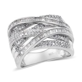 Designer Close Out- Diamond (Rnd and Bgt) Crossover Ring in Platinum Overlay Sterling Silver 1.00 Ct