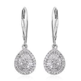 9K White Gold SGL Certified Diamond (Rnd and Bgt) (G-H/I3) Lever Back Earrings 0.50 Ct.