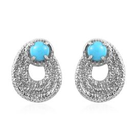 1 Carat Arizona Sleeping Beauty Turquoise Stud Earrings in Platinum Plated Sterling Silver 5 Grams