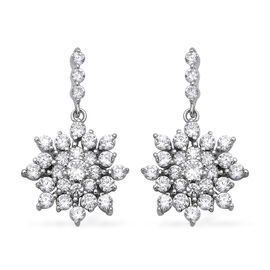 ELANZA Simulated Diamond (Rnd) Floral Drop Earrings (with Push Back) in Rhodium Overlay Sterling Sil