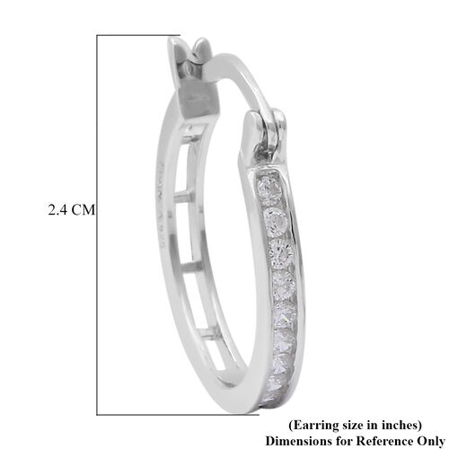ELANZA Simulated Diamond Hoop Earrings (with French Clip) in Rhodium Overlay Sterling Silver