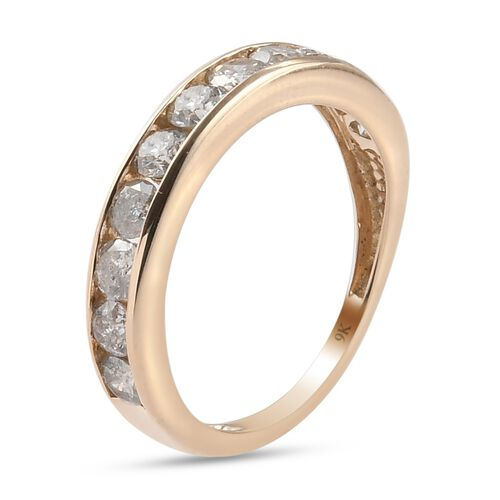 9K Yellow Gold SGL Certified Diamond (I3/G-H) Half Eternity Band Ring 1.00 Ct.