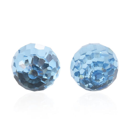J Francis - Crystal from Swarovski - Aquamarine Colour Crystal (Disco Ball) Stud Earrings (with Push Back) in Platinum Overlay Sterling Silver