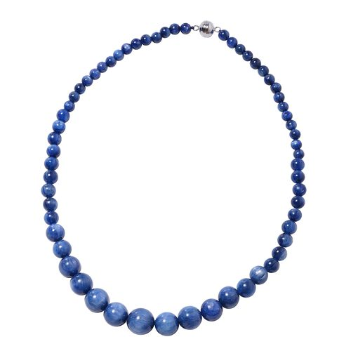 370 Ct Himalayan Kyanite Beaded Necklace in Rhodium Plated Sterling Silver 5 Grams