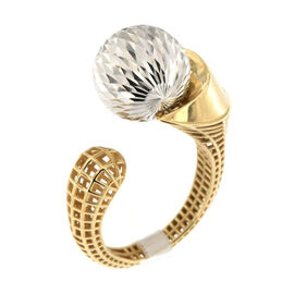 Vicenza Collection- 9K Yellow Gold Diamond Cut Fancy Ring, Gold wt 4.49 Gms