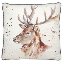 Lesser &  Pavey Country Life Stag Cushion (Size 43x43x10cm) - White