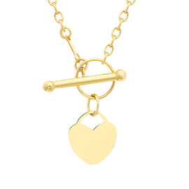 9K Yellow Gold Heart Charm T-Bar Necklace (Size 18)