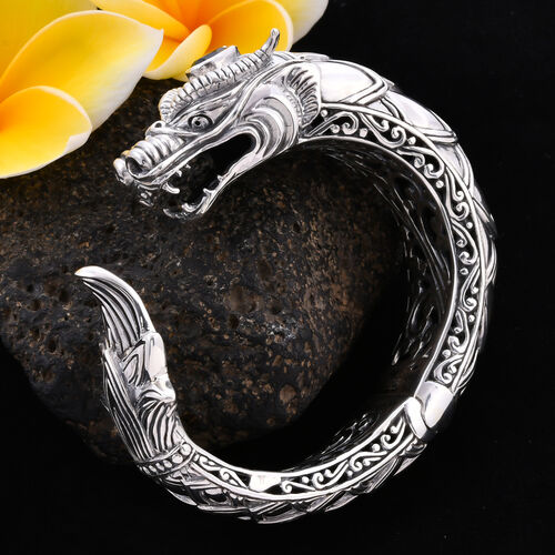 Royal Bali Collection - London Blue Topaz Dragon Head Bangle (Size 7.5) in Sterling Silver Sliver Wt. 97.00 Gms