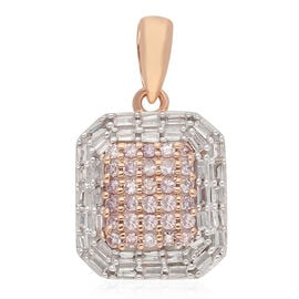 9K Rose Gold Natural Pink Diamond and White Diamond Cluster Pendant 0.50 Ct.