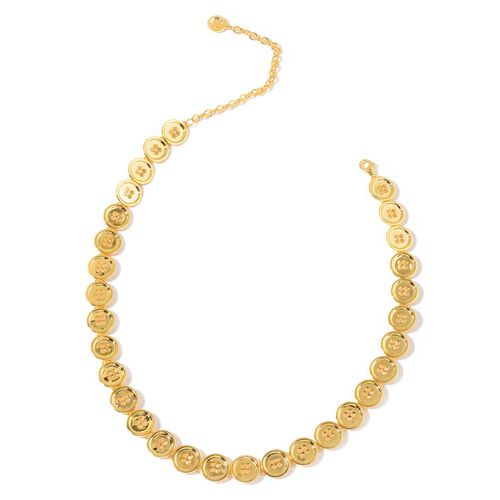 LucyQ Button Necklace (Size 20 with Extender) in Yellow Gold Overlay Sterling Silver 50.98 Gms.