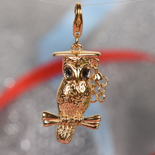 Graduation Owl Charm in 14K Gold Overlay Sterling Silver