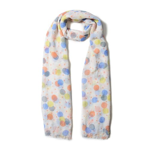 White, Blue, Yellow and Orange Colour Dot Pattern Scarf (Size 170x90 Cm)