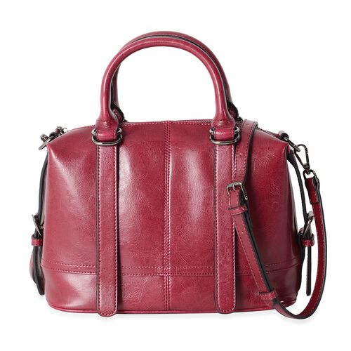 Close Out Deal 100% Genuine Leather Winter Berry Tote Bag with External Zipper Pocket and Removable