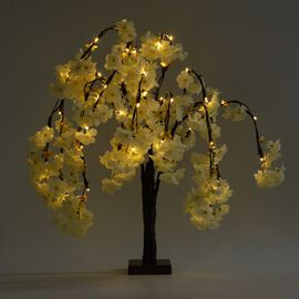 Cherry Blossom LED Light Tree (Size 60x48 Cm) (3 x AA IP20 Battery not Included)  - White