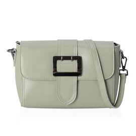 100% Genuine Leather Mint Green Colour Shoulder Bag with External Zipper Pocket and Removable Shoulder Strap (Size 23x17x10.5 Cm)