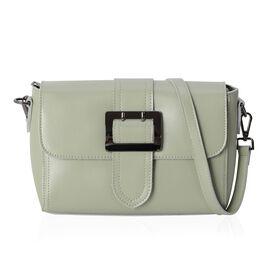 100% Genuine Leather Mint Green Colour Shoulder Bag with External Zipper Pocket and Removable Should