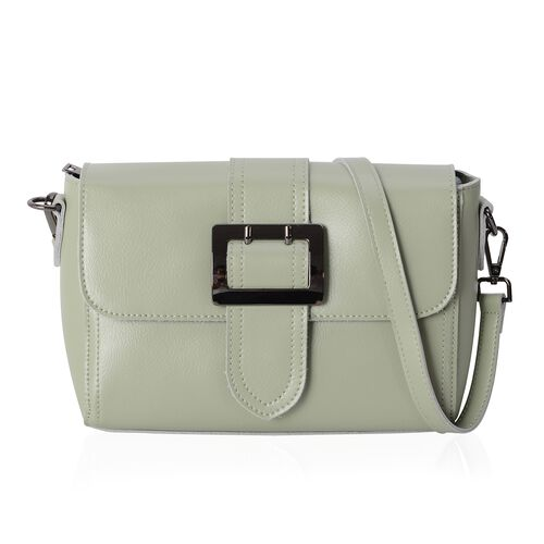100% Genuine Leather Mint Green Colour Shoulder Bag with External Zipper Pocket and Removable Should