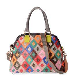 100% Genuine Leather Multicolour Block Pattern Tote Bag (Size 36x15.5x27 Cm) with Detachable Shoulde