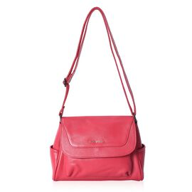 100% Genuine Leather Crossbody Litchi Pattern Bag with Adjustable Strap and External Zipper Pocket (