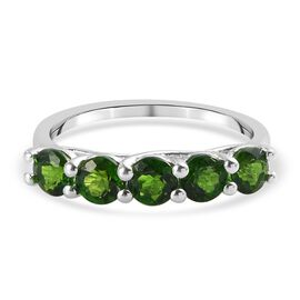 Russian Diopside 5-Stone Ring in Sterling Silver 1.50 Ct.