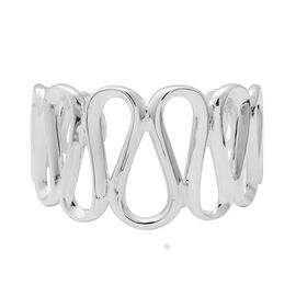 Rhodium Overlay Sterling Silver Bangle (Size 7 Adjustable), Silver wt 29.14 Gms