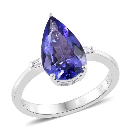 ILIANA 18K White Gold 2.95 Ct AAA Tanzanite, Diamond SI G-H Ring