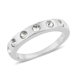 J Francis Crystal from Swarovski - White Crystal (Rnd) Ring in Sterling Silver, Silver wt 3.46 Gms.