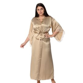 Super Auction 100% Mulberry Silk Long Robe with Kimono Style Sleeves with Lace in Gift Box in Golden Colour