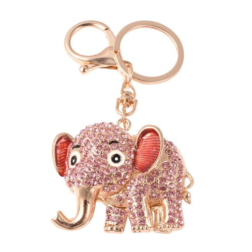 Set of 3 - White, Black and Pink Austrian Crystal Panda, Elephant and Frog Enamelled Keychain in Silver and Gold Tone