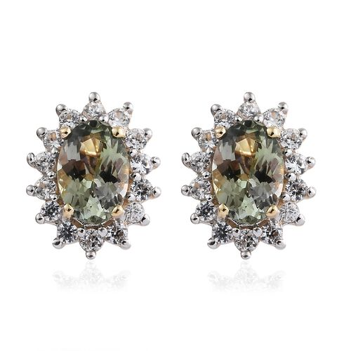 9K Yellow Gold (Ovl) AAA Green Tanzanite, Natural Cambodian Zircon Stud Earrings(with Push Back) 1.250 Ct
