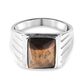 Yellow Tigers Eye Ring in Stainless Steel  13.00 Ct.