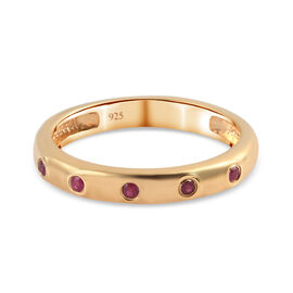 Burmese Ruby Band Ring in 14K Gold Overlay Sterling Silver 0.10 ct  0.100  Ct.
