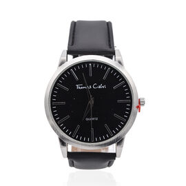 Thomas Calvi Silver Tone Sunray Dial Watch with Black Strap