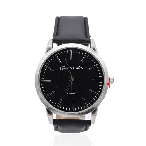 Thomas Calvi Silver Tone Sunray Dial Watch with Black Strap
