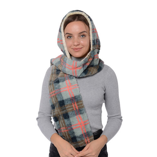 Plaid Hooded Scarf (Size 17x200cm) - Light Green and Brown