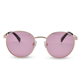 Polaroid Retro Panto Gold Tone Sunglasses with Pink Lenses
