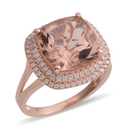 Super Auction- ILIANA 18K Rose Gold AAA Maroppino Morganite (Cush 12mm, 6.50 Ct) and Diamond (SI/G-H) Ring 6.920 Ct.