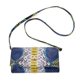 LA MAREY 100% Genuine Python Leather Crossbody Wallet (Size 19.5x11x2cm) - Yellow & Multi