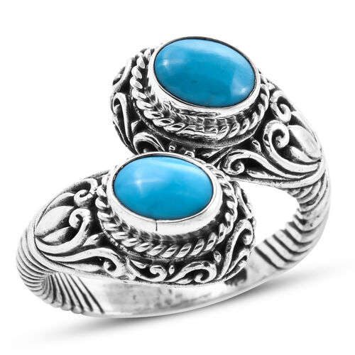 Royal Bali Collection - Arizona Sleeping Beauty Turquoise (Ovl) Bypass Ring in Sterling Silver 2.50 Ct, Silver wt 8.10 Gms